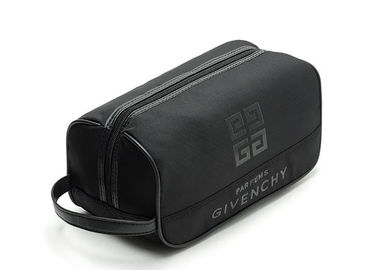 Promotional Monogrammed Leather Mens Toiletry Bag / Black Groomsmen Gifts Toiletry Bag