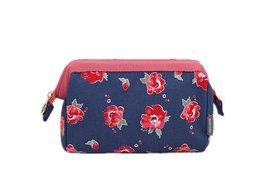 Flower Printed Makeup Pouch Organizer / Makeup Travel Case Organic Cotton