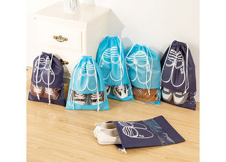 Polyester Drawstring Shoe Bags Promotional Custom Printed For Easy Travel