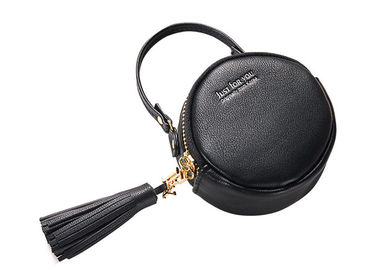Small Round Pu Leather Bag Fashion Hand Take Change Card Package With Tassel