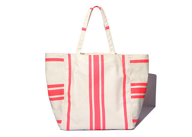 China 600D Polyester Canvas Tote Bags Striped Print Environmental Protection factory