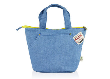 China Denim Canvas Tote Bags Simple Japanese Style Light - Weight 22*22*16CM Size factory
