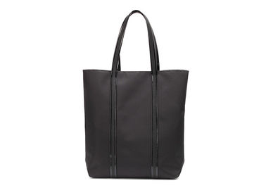 China Cotton Canvas Tote Bags Black Nylon Fabric With Patent Leather PU Handle factory