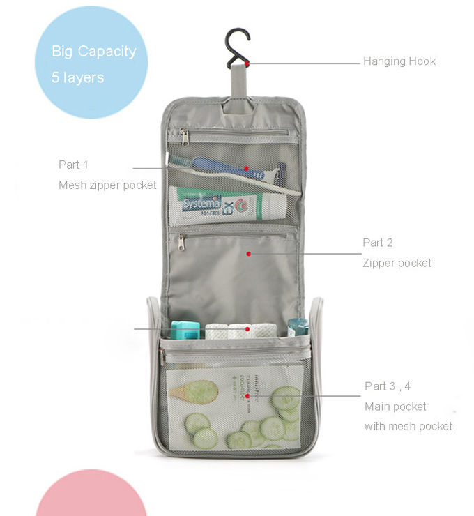 Unisex Travel Makeup Bag Organizer , Bags With Multiple Compartments Polyester Material