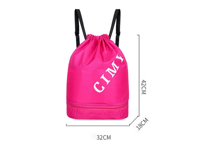 Customized Drawstring Beach Bag , Drawstring Swim Bag With Wet Dry Separation Backpack